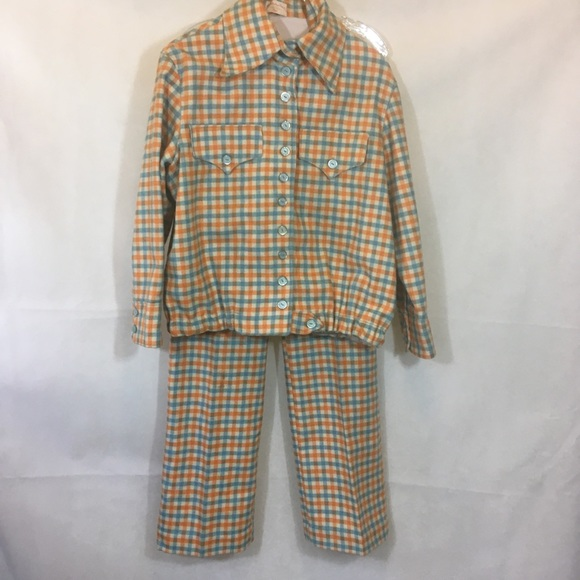 VTG 1970's Wool Check 2 PC Bell Bottom Pant Suit